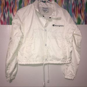 Champion white cropped windbreaker